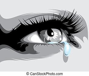 ilustrado, olho, com, um, lágrima