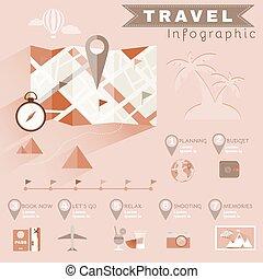 ilustrado, viagem, planificação, infographics