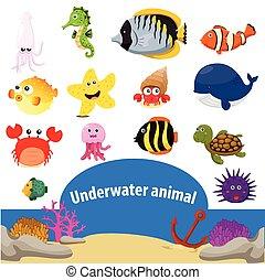 ilustrador, animales, submarino