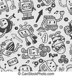 ilustrador, seamless, patrón, robot, línea, herramientas,...
