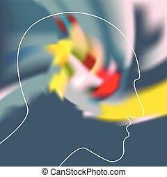 ilustration., 概念, シンボル, 精神分裂症, ベクトル, depresion, dementia.