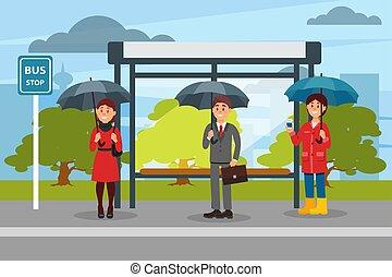 ilustration, autobus, gens, arrêt, attente, vecteur, parapluies