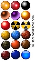 Ilustration balls, glass metal, wood, black colorized -...
