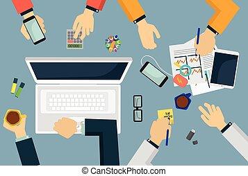 ilustration., negócio, topo, trabalho, vetorial, reunião equipe, vista