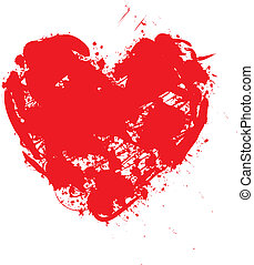 Illustration of a red heart pattern background grunge ink