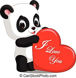 panda cartoon with love - Dessin De Panda Mignon