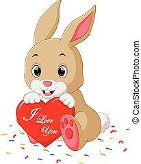 rabbit cartoon with love