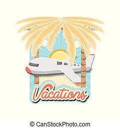 ilustration, reise, fliegendes, urlaub, vektor, motorflugzeug, ikone