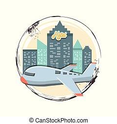 ilustration, viagem, voando, férias, vetorial, avião, ícone