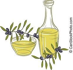 Ilustration with black olives and bottle of oil. -...