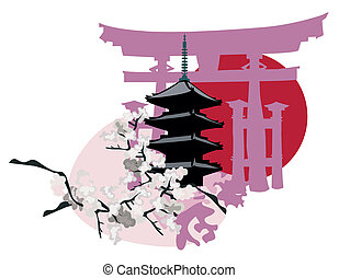 Japanese Landmarks - Ilustration with Japanese Landmarks; ...
