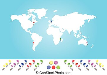 ilustrowana mapa, wszystko, kontynenty, świat