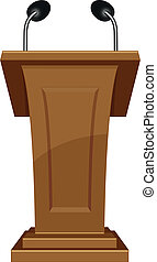 podium icon - iluustration of wooden podium icon