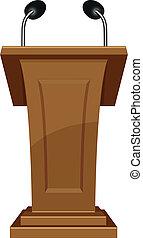 podium icon - iluustration of wooden podium icon