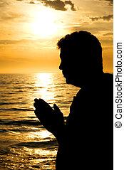 imádkozás, alatt, természet