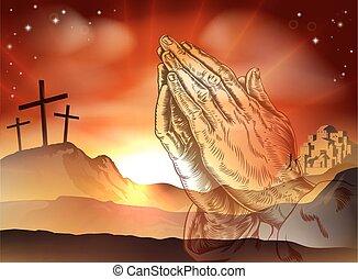 imádkozás, fogalom, húsvét, kézbesít