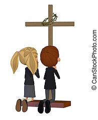 imádkozás, gyerekek, templom