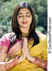 imádkozás, indiai, nő