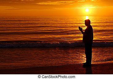 imádkozás, noha, narancs, napnyugta