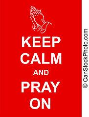 imádkozik, csendes, tart
