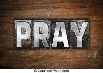 imádkozik, fogalom, fém, másológép, gépel