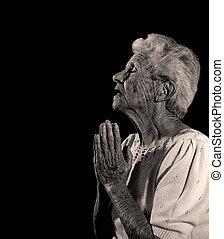 imádkozik, isten, thee