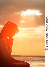 imádkozik, nő, vallásos