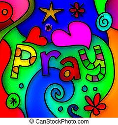 imádkozik, pohár, foltos