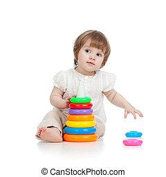 imádnivaló, csecsemő, játék, noha, szín, játékszer