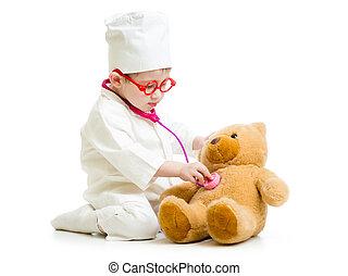 imádnivaló, gyermek, noha, öltözék, közül, orvos, játék, noha, játékszer