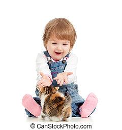 imádnivaló, gyermekek játék, noha, cica