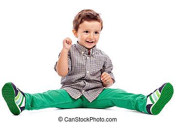 imádnivaló, kicsi fiú, ül emelet