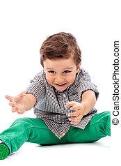 imádnivaló, kicsi fiú, játék, a padlóra