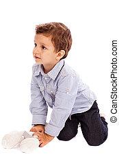 imádnivaló, kicsi fiú, játék, noha, övé, játékszer, hord, a padlóra