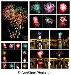 imágenes, collage, fuegos artificiales, italia, florencia