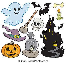 imágenes, conjunto, halloween
