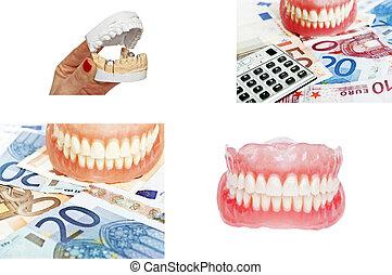 imágenes, dental, concepto, dentaduras, colección