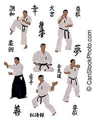 imágenes, karate, conjunto