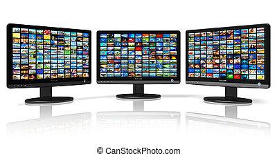 imágenes, múltiplo, monitores