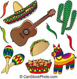 imágenes, mexicano, conjunto, vario