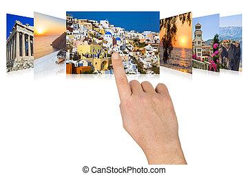 imágenes, viaje, mano, movimiento en sentido vertical, grecia