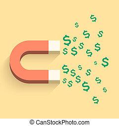 imán, dinero, ilustración negocio