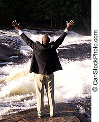 I'm free! - business man in a suit standing in front of a...