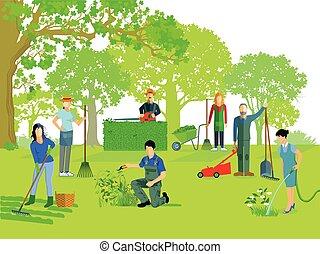 im Garten-Gartenarbeiten-.eps
