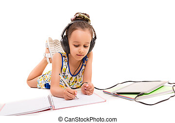 I'm going to draw a... - Young girl listening to some music...