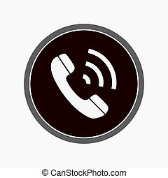 IM instant messenger phone handset icon with shadow. White phone handset in speech bubble icon. Vector.