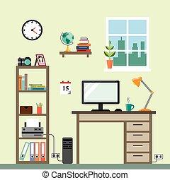 im, salle, espace de travail