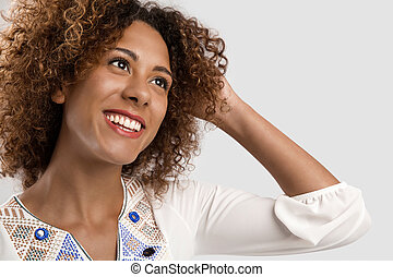 Portrait of a beautiful African American woman laughing