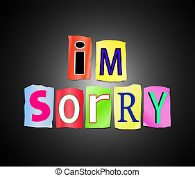 I'm sorry. - Illustration depicting a set of cut out printed...
