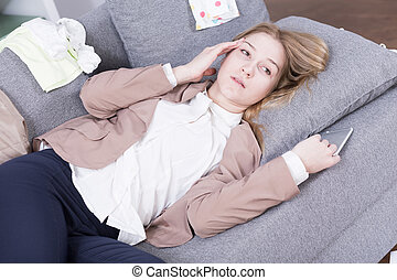 I'm totally burnout...! - Picture of exhausted, young woman ...